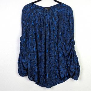 Banana Republic Snake Print Ruched Sleeve Blouse
